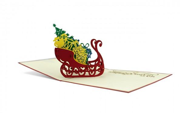 Geschenkeschlitten Pop Up Karte