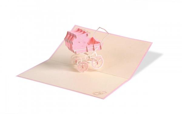Kinderwagen Mädchen Pop Up Karte