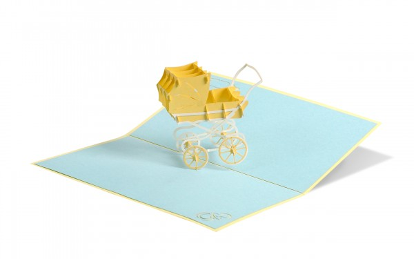 Kinderwagen neutral Pop Up Karte