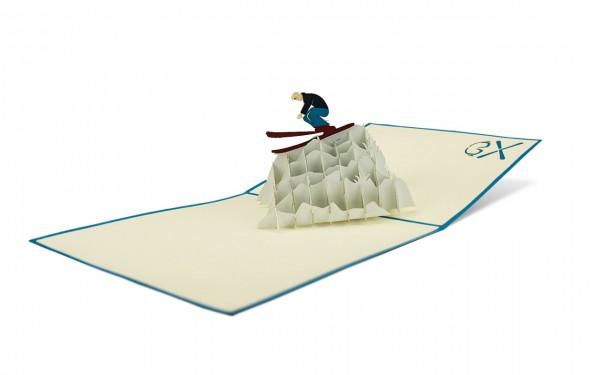 Skifahrer pop up karte