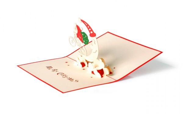Santa auf Fahrrad Pop Up Karte